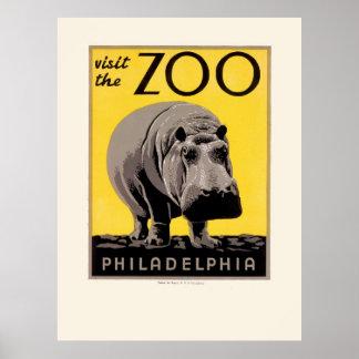 Vintage Philadelphia Zoo Hippo WPA Poster