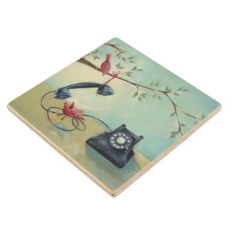 Vintage Phone & Bird Design Wooden Coaster