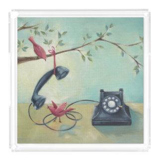 Vintage Phone & Birds Teal Green Acrylic Tray