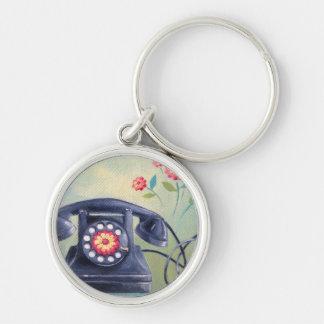 Vintage Phone & Flowers Keychain