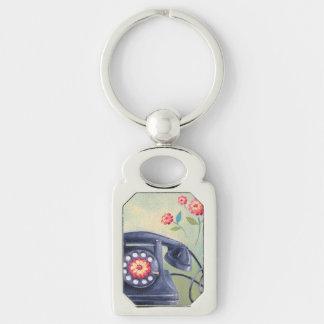 Vintage Phone & Flowers Silver Keychain