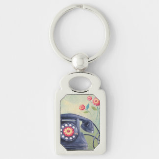 Vintage Phone & Flowers Silver Keychain Silver-Colored Rectangle Key Ring