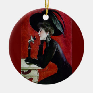 Vintage phone lady christmas ornament