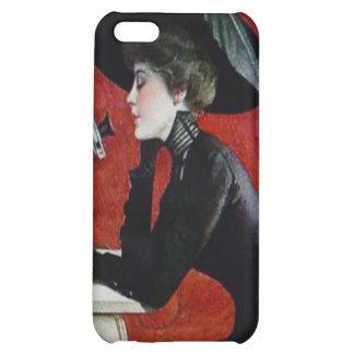 vintage phone woman black dress hat lady iPhone 5C case