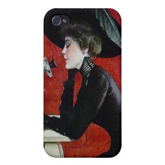 vintage phone woman black dress hat lady iPhone 4/4S case