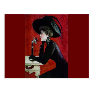 vintage phone woman black dress hat lady postcard