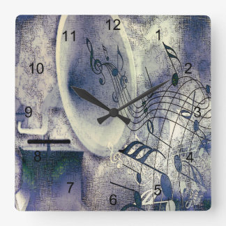 Vintage Phonograph and Music Square Wall Clock