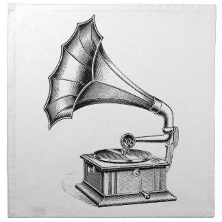 Vintage Phonograph Record Player Music Instrument Cloth Napkins