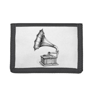 Vintage Phonograph Record Player Music Instrument Trifold Wallets