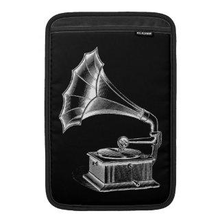 Vintage Phonograph Record Player Musical Black MacBook Sleeve