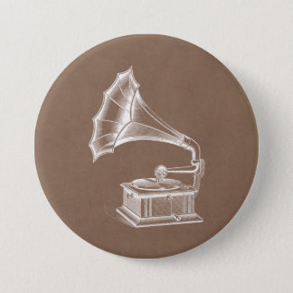 Vintage Phonograph Record Player Musical Parchment 7.5 Cm Round Badge