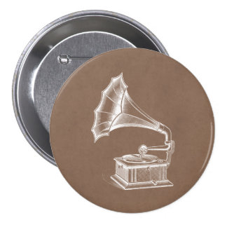 Vintage Phonograph Record Player Musical Parchment Pins