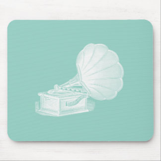 Vintage Phonograph Sea Green White Gramophone Cool Mouse Mat