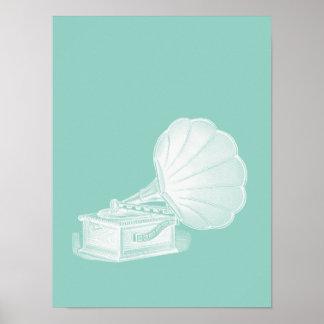 Vintage Phonograph Sea Green White Gramophone Cool Poster