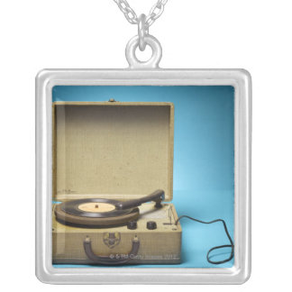 Vintage Phonograph Silver Plated Necklace