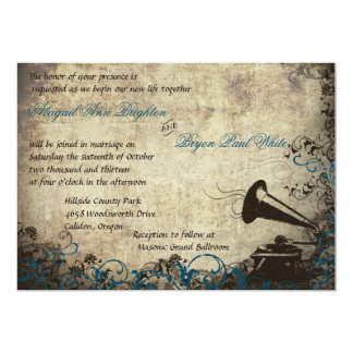 Vintage Phonograph Wedding Invitation Dark Blue