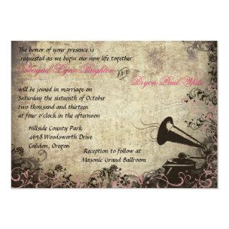 Vintage Phonograph Wedding Invitation Pink