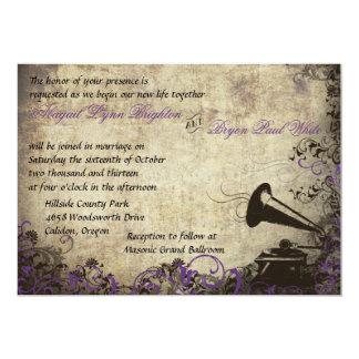 Vintage Phonograph Wedding Invitation Purple
