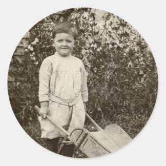 Vintage Photo- Boy- Wheelbarrow-  Sticker