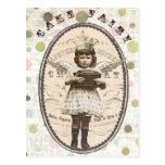 vintage photo cake fairy postcard