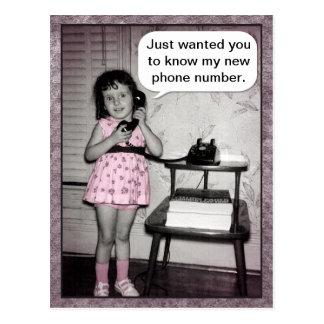 Vintage Photo Custom Telephone Girl New Number Postcard