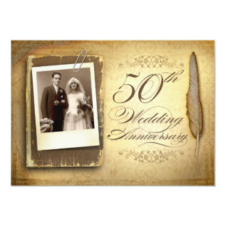 vintage photo fancy 50 anniversary invitations