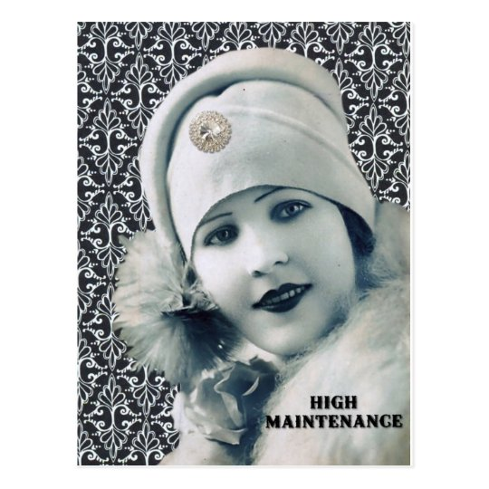vintage photo fashionista lady postcard