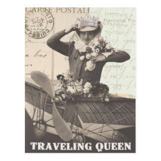 Vintage photo french traveling lady  postcard