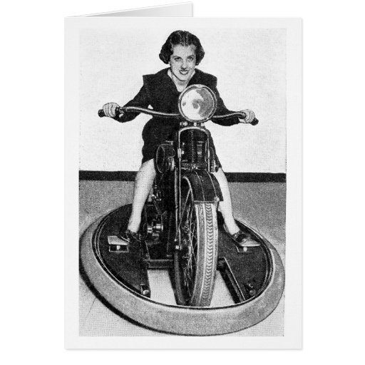 Vintage Photo - Girl on Cycle Greeting Card