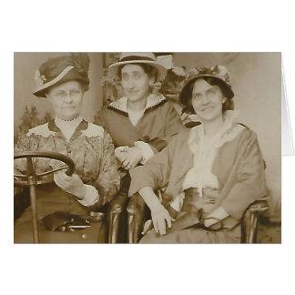 Vintage Photo Girlfriends on Road Trip Card