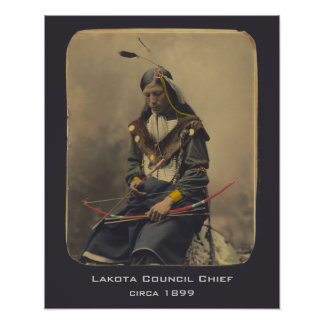 Vintage Photo Native American Lakota Indian Chief Poster