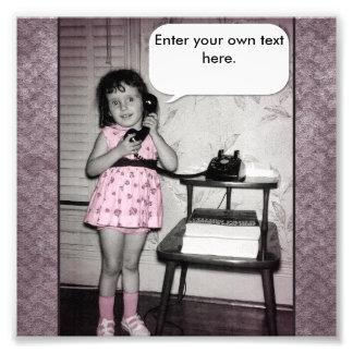Vintage Photo of Girl on Phone Custom Text
