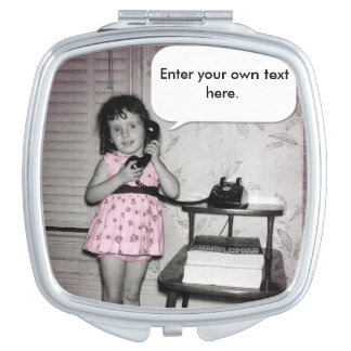 Vintage Photo of Girl on Phone Custom Text Mirror For Makeup