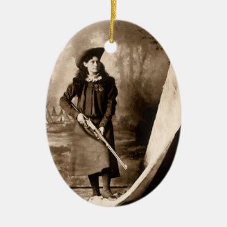 Vintage Photo of Miss Annie Oakley Holding a Rifle Ceramic Oval Decoration