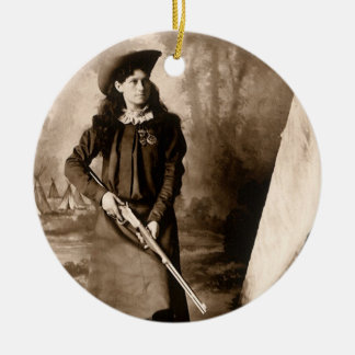 Vintage Photo of Miss Annie Oakley Holding a Rifle Round Ceramic Decoration