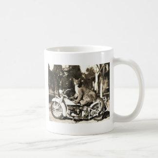 vintage photo of police officer on motorcycle puma basic white mug