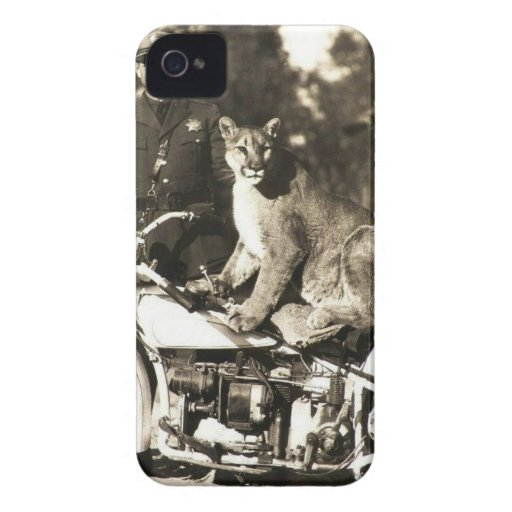 vintage photo of police officer on motorcycle puma iPhone 4 covers