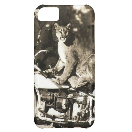 vintage photo of police officer on motorcycle puma iPhone 5C case