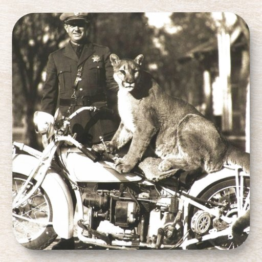 vintage photo of police officer on motorcycle puma beverage coaster