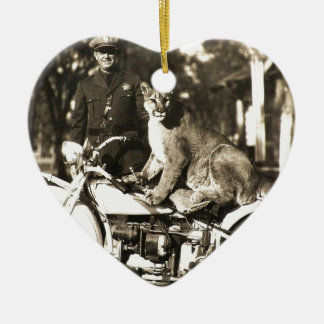 vintage photo of police officer on motorcycle puma Double-Sided heart ceramic christmas ornament