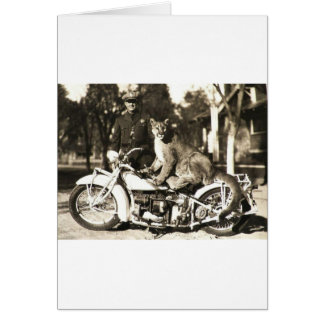 vintage photo of police officer on motorcycle puma greeting card
