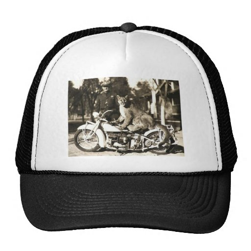 vintage photo of police officer on motorcycle puma trucker hats