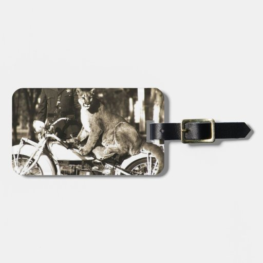 vintage photo of police officer on motorcycle puma travel bag tag