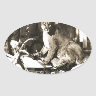 vintage photo of police officer on motorcycle puma oval sticker
