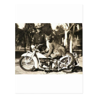 vintage photo of police officer on motorcycle puma postcard