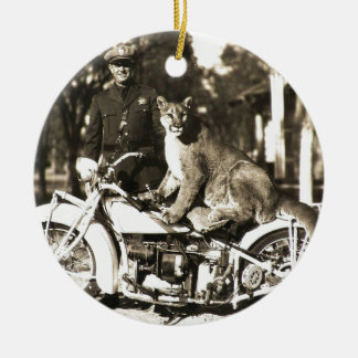 vintage photo of police officer on motorcycle puma round ceramic decoration