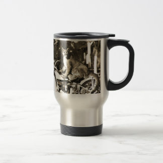 vintage photo of police officer on motorcycle puma stainless steel travel mug