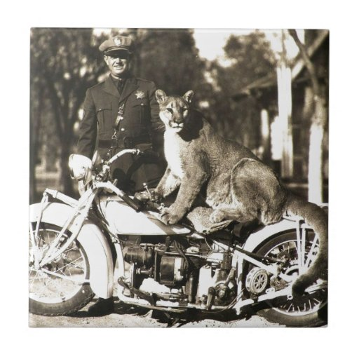 vintage photo of police officer on motorcycle puma ceramic tile