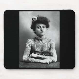 Vintage Photo of Tattooed Woman Mouse Pad