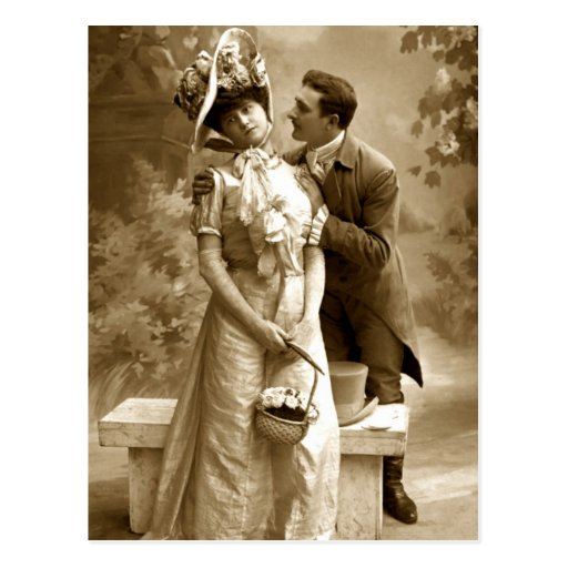 Vintage photograph 2 lovers post cards